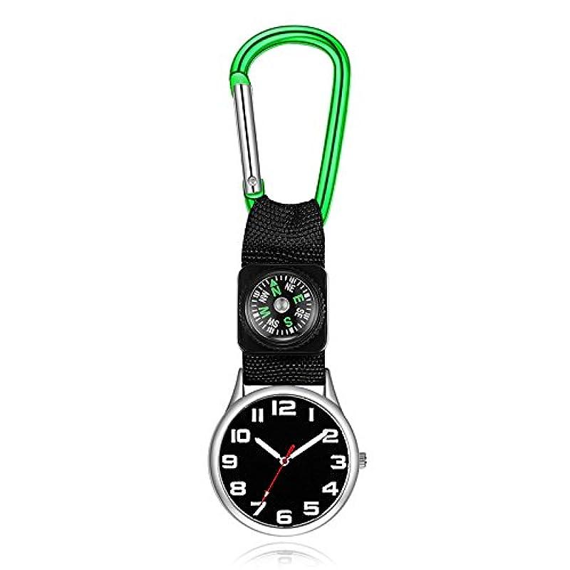 雪のコンパクトエクステントOsize ミニウォッチ看護師用ウォッチポケット懐中時計 ブローチウォッチ レディアロイハンギングウォッチ(緑)