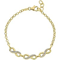 Bevilles 9ct Yellow Gold Silver Infused Two Tone Infinity Bracelet Belcher