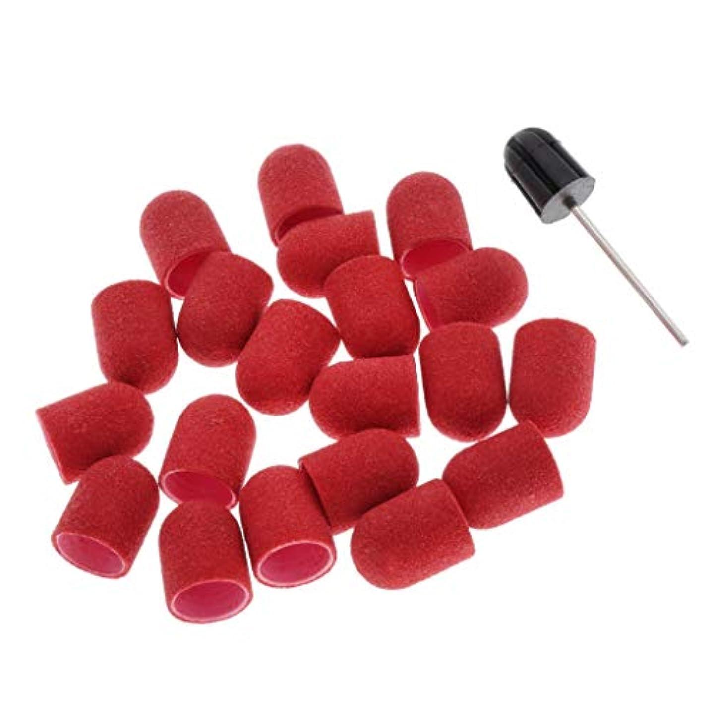 作業典型的な蛇行Toygogo ネイルアート ネイルドリルサンディングキャップ サンディングバンド ネイル 研磨用 全5カラー - 赤