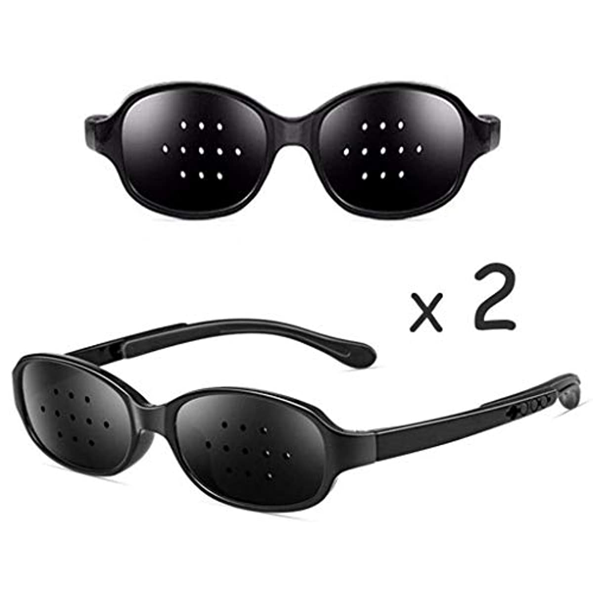 リーダーシップショッキング広々としたピンホールメガネ、視力矯正メガネ網状視力保護メガネ耐疲労性メガネ近視の防止メガネの改善 (Color : ピンク)