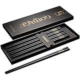 Goldage 5-Pairs Fiberglass Dishwasher-Safe Chopsticks (Golden Age - Gold & Silver)