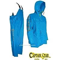 トオケミ(TOHKEMI) Captain Star マリン レインウェア キャプテンスター パーカ(#182 マリンブルー) + キャプテンスター サロペット(#282 マリンブルー) セット (上下同サイズ)