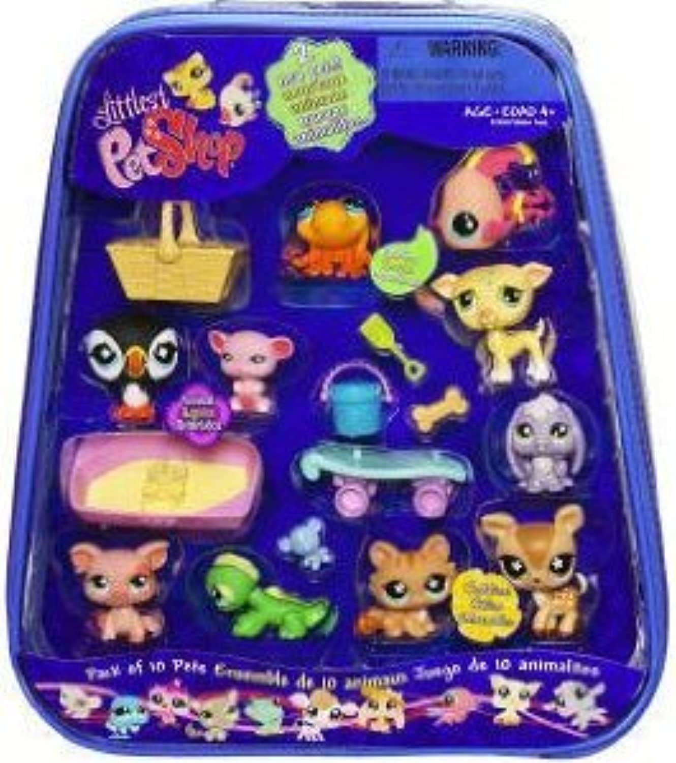 Littlest Pet Shop (リトルペットショップ) Exclusive Mega 10-Pack of Pets in Carry Case (Includes Puffin, Fish, Whippet and Deer)(並行輸入)
