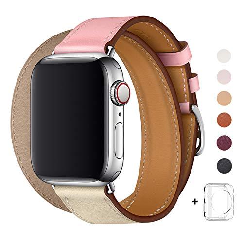 WFEAGL コンパチブル Apple Watch バンド, は本革を使い, iwatch series4/3/2/1 レザー製,Sport/Edition向けのバンド交換ストラップです コンパチブル アップルウォッチ バンド (38mm 40mm, 二重巻き型 ピンク/ベージュ/アイボリーホワイト+シルバー バックル)