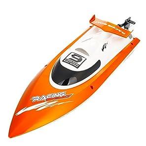GPTOYS ラジコンボート RCスピードボート 安全ストップ機能付 オレンジ