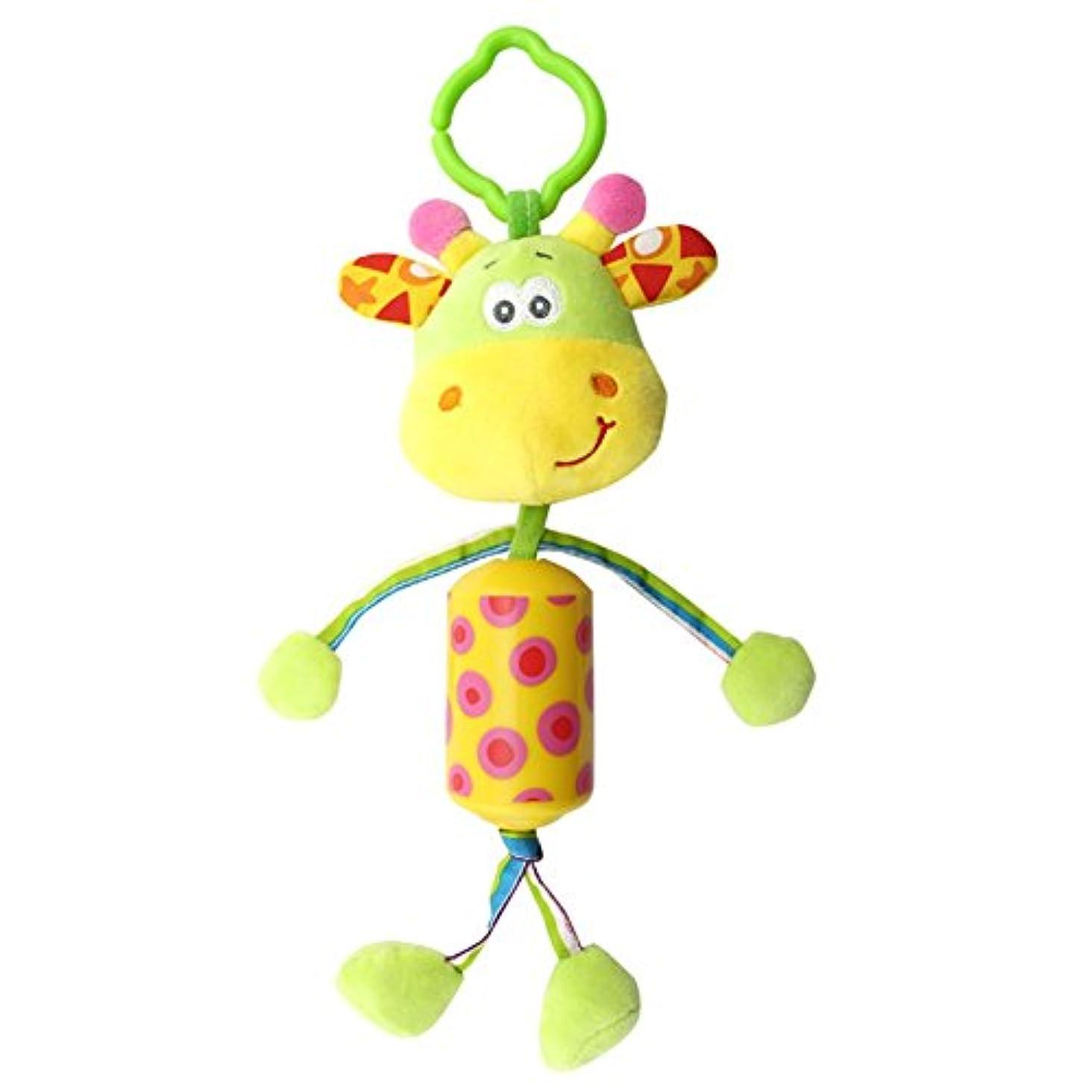 使用法ボット看板wenasiベビーベッドベビーカーおもちゃ、ベッド椅子Bell Hanging Rattleおもちゃ、赤ちゃんカーシートHandbells幼児用おもちゃ(キリン)