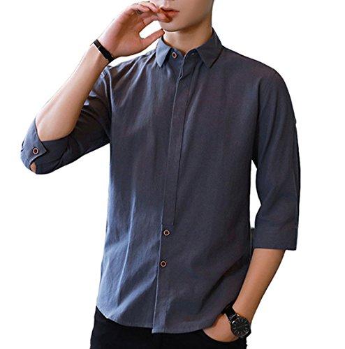 夏服 メンズ シャツ 7分袖 プレミアム 綿麻 リネン シャツ ストレッチ メンズ