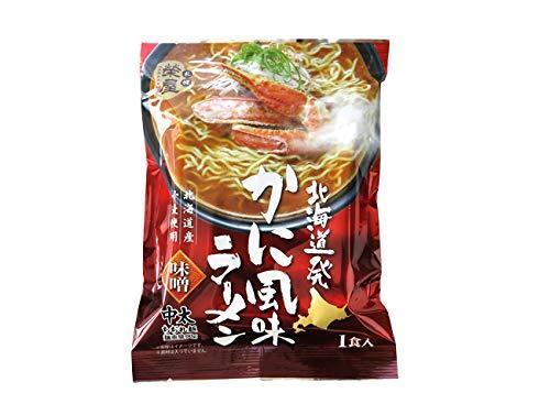 北海道発かに風味ラーメン(1食入)味噌味(北海道産小麦使用)中太ちぢれ麺 みそらーめん 蟹 カニエキススープ インスタント 袋麺 海鮮 ご当地ラーメン