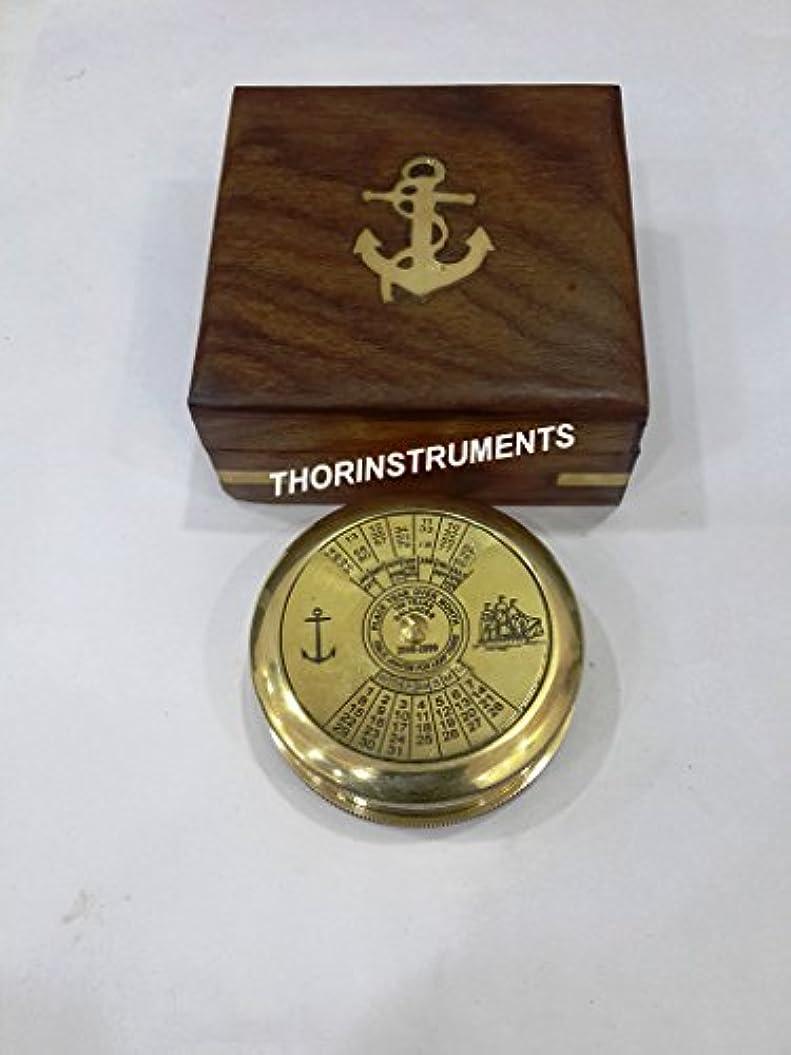 駐地憧れ出くわすソリンストレンツ (デバイス付き) 航海真鍮ポケットコンパス ハンドメイドスタイル 木製ボックス付き