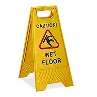 Relaxdays 警告サイン 注意 ウェットフロア 両面 書き込み 折りたたみ式 イエロー