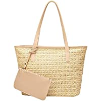ViuiDueTure Women's Handbag, Large Straw Woven Tote, Fashionable Summer Beach Shoulder Bag with Outer Pouch Puse - Leather Handles