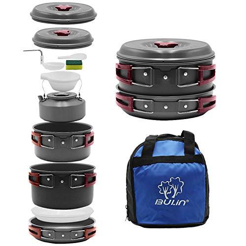 Bulin 13-pieceキャンプ調理器具Messキットアウトドアバックハイキング料理セットなど、ポット、フライパン...