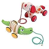 木製のワニのおもちゃに沿って引っ張る、素敵なおもちゃの男の子と女の子は、幼児や幼児を歩くように勧めます,Burst