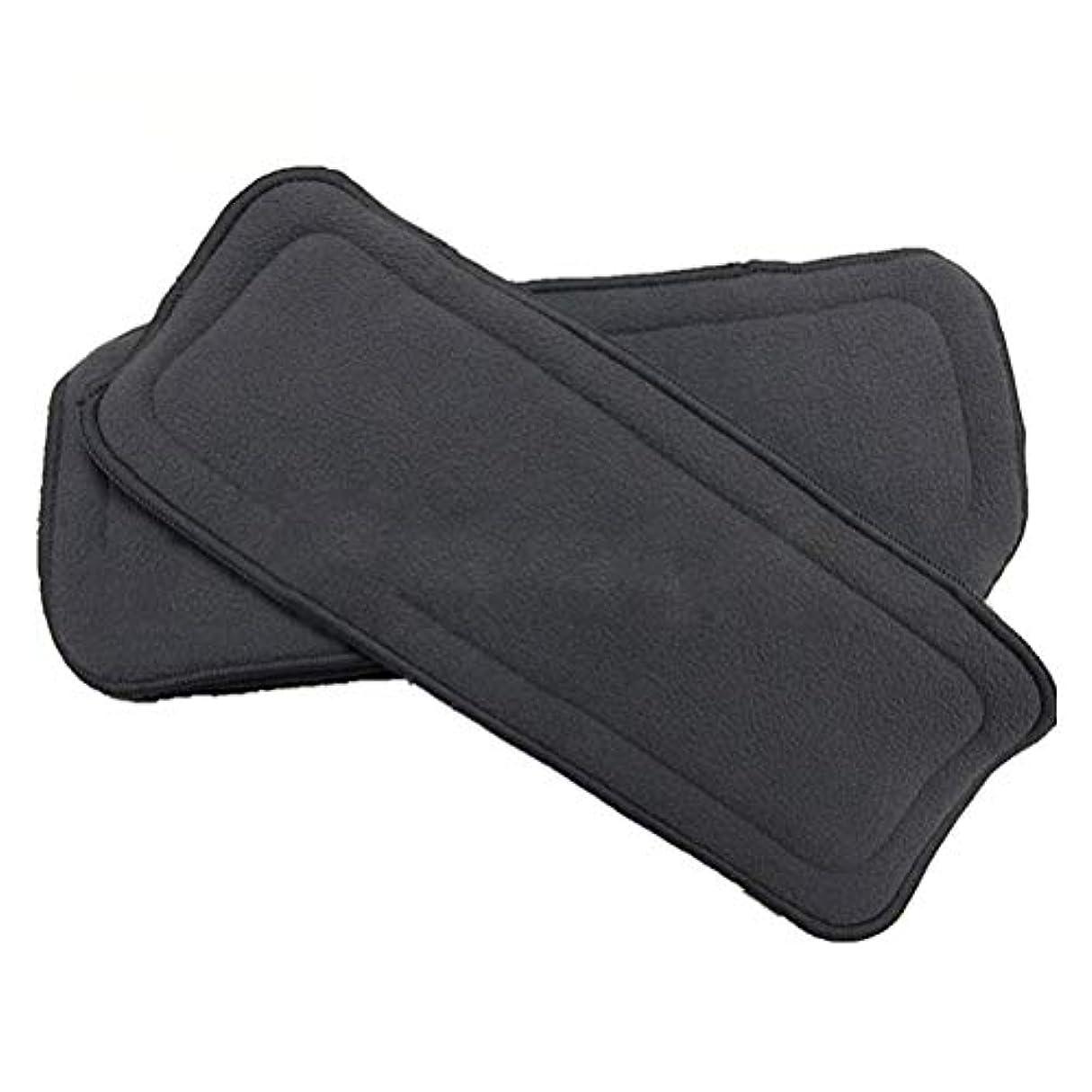 厄介なモジュールワーカーSUPVOX ベビー布おむつライナー再利用可能な木炭竹布おむつ挿入吸水性通気性2本(黒)