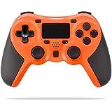 Astarry PS4ワイヤレスコントローラーDualShock 4、デュアルバイブレーションとトリガーボタン付きゲームパッドコントローラー、Playstation 4およびWindows用3.5mmジャック(オレンジ)