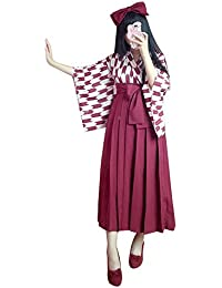 Rimocy 昭和レトロ風袴3点セット コスチューム ブラック 金魚柄 全2色 改良 着物 和服 上下浴衣セット
