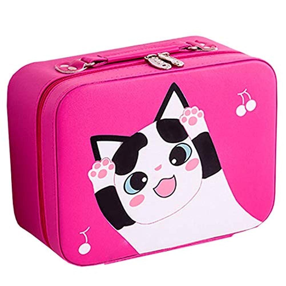 ステープルバリケード整然とした[テンカ]メイクボックス コスメボックス 大容量 鏡付き おしゃれ かわいい 化粧品収納ボックス ブランド 人気 プロ 化粧ボックス 小物 猫柄 機能的 メイクポーチ 旅行 収納ケース バラ色