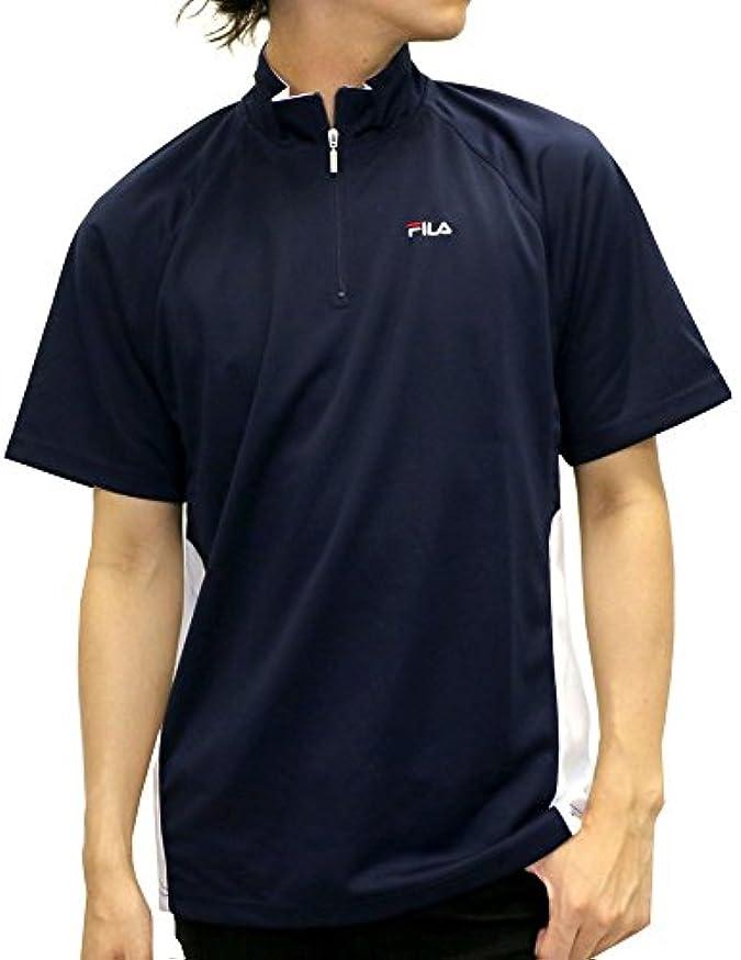 ベテラン強度ハブ[フィラ] ランニングウェア Tシャツ ドライ 吸汗速乾 半袖 ハーフジップ メンズ