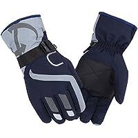 冬のライディングウォーム手袋厚手の防風防水スポーツグローブ、黒