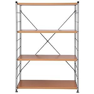 山善(YAMAZEN) スチールシェルフセット ウッドシェルフ 木製棚板 (幅86奥行42)4段 ナチュラル MWS-12844(NB/SL)