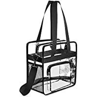 Gonex Clear Tote Bag, NFL Stadium Approved Transparent PVC Crossbody Shoulder Bag with Pockets, See Through Bag for Women, Black