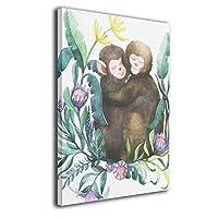ブルームン パネル 30×40 フレーム グラス 猿 愛 アートフレーム 装飾画 ポスター インテリア 枠なし 絵 モダン 贈り物