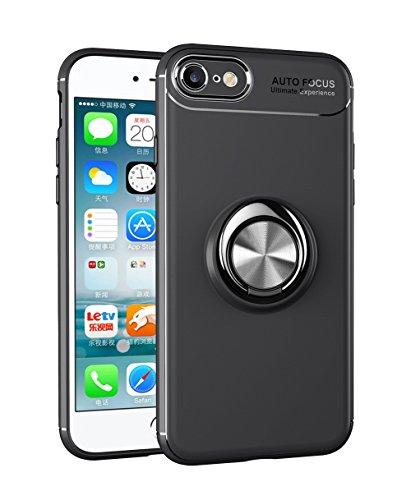 新しい iPhone7/iPhone8ケース TUPソフトシェル ケースリング付き 衝撃 落下 防止 指紋防止 防水滑り止め 薄型 スタンド機能 車載ホルダー 360回転 3D Touch対応 おしゃれ 軽量 薄い 携帯カバー ブラック