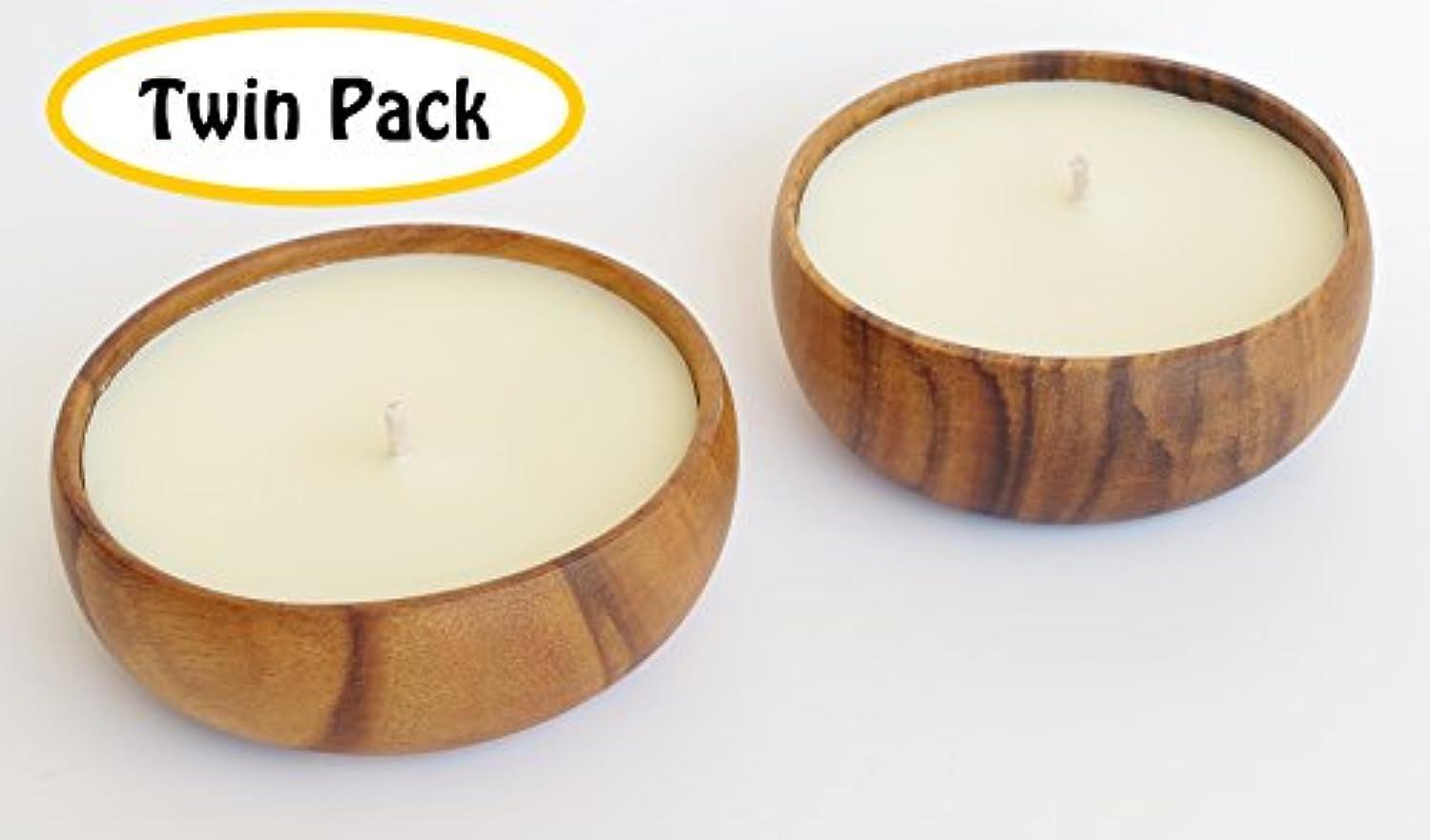 単独で蓮柔らかいハワイアンCandle & Bath – Gardenia Blossom香りつきSoy Candle、ツインパック、ハンド、再利用可能なボウル