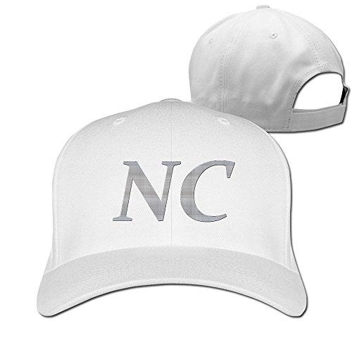 ティナ NC North Carolina 平らつば 野球帽 キャップ カジュアル スポーツ 男女兼用 調節可能 White