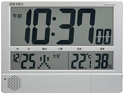 セイコー クロック 掛け時計 置き時計 兼用 電波 デジタル プログラム機能 カレンダー 六曜 温度 湿度 表示...