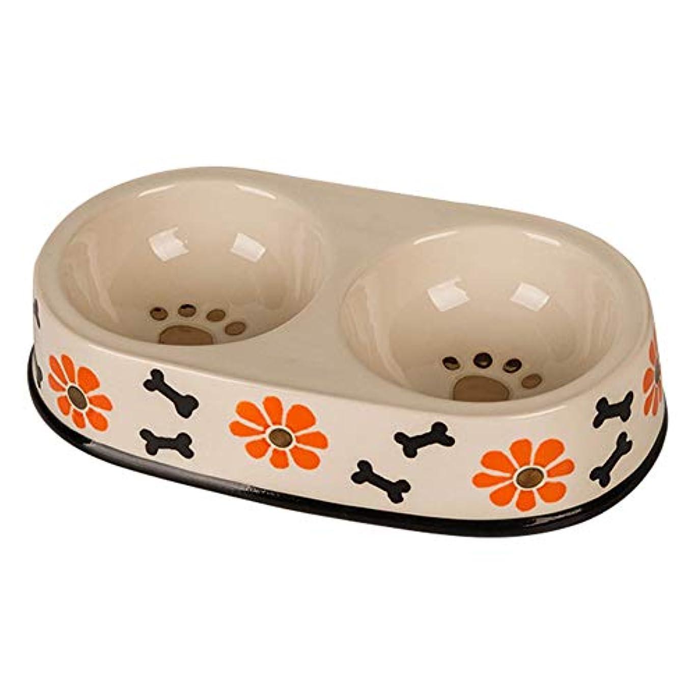組み合わせ華氏他のバンドでMOLOVET ペットボウル ダブルボウル 犬ボウル 高質量セラミック製 小型 中型 犬&猫用食器?ボウル 可愛い
