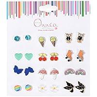 Onnea Multi Pairs Cute Enamel Studs Earring Set For Girls, Hypoallergenic
