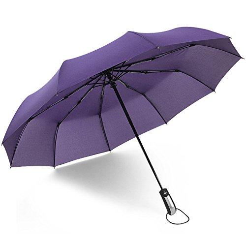 (アドンルル)adunlulu自動開閉折り畳み傘トラベルアウトドア傘、片手操作用自動開け閉めボタン、撥水性 シンプル 10本骨 、持ち運びに便利 パープル