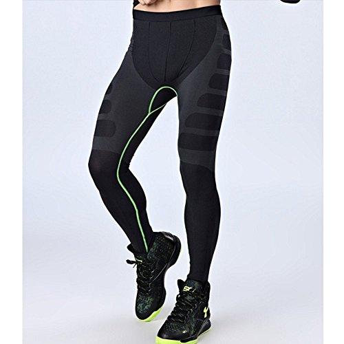 LeoSport フィットネス トレーニング 機能性 防臭インナー 加圧スパッツ 通気 基礎代謝 コンプレッションタイツ (L, グレー+グリン)