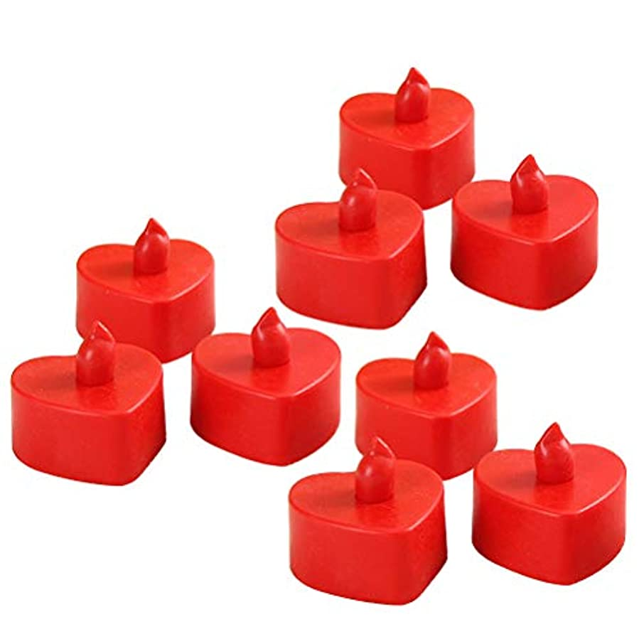 コンチネンタル旋回調べるBESTOYARD 10個のLed茶色のライトは、電池で作動するFlameless Tealightキャンドル暖かい黄色のライトライトハートシェイプクリスマスのウェディングパーティの装飾(赤いシェル、赤い光)