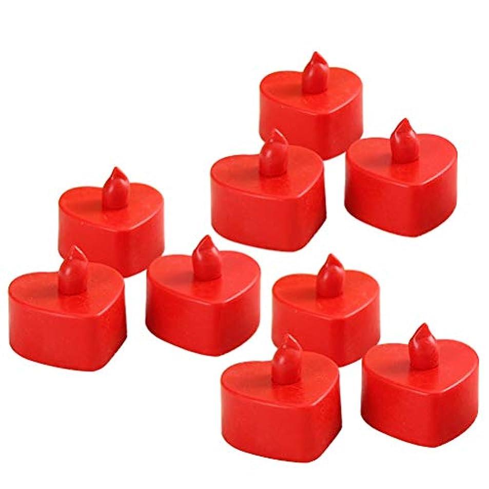 祈り有力者不公平BESTOYARD 10個のLed茶色のライトは、電池で作動するFlameless Tealightキャンドル暖かい黄色のライトライトハートシェイプクリスマスのウェディングパーティの装飾(赤いシェル、赤い光)