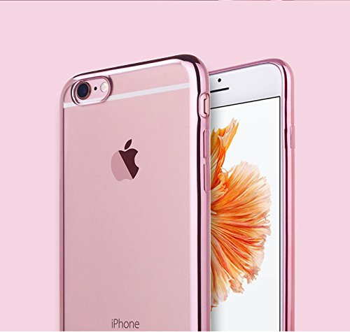 『Rovski iPhone6s Plus ケース iPhone6 Plus ケース 弧状設計 脱着簡単 超薄型耐衝撃 保護キャップ 一体型 ソフト TPU ケース(ローズゴールド)』の3枚目の画像