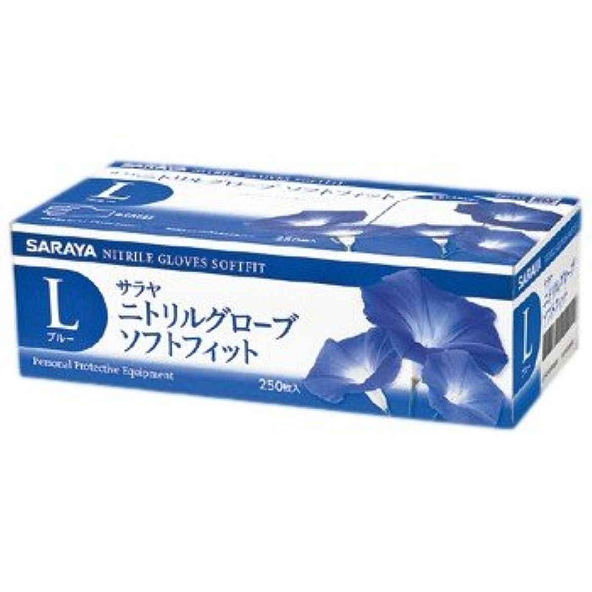 サラヤ ニトリルグローブ ソフトフィット パウダーフリー ブルー L 250枚×10箱入