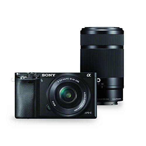 ソニー SONY ミラーレス一眼 α6000 ダブルズームレンズキット E PZ 16-50mm F3.5-5.6 OSS + E 55-210mm F4.5-6.3 OSS ブラック ILCE-6000Y B