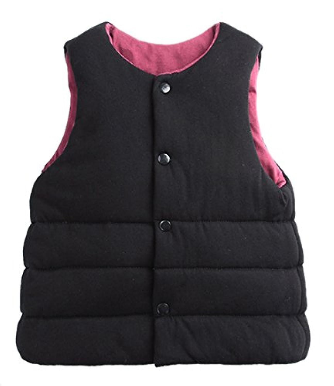 Roffatide 子供の 可逆 綿服 ノースリーブ コットンコート ベスト ジャケット キッドガールズボーイズ秋冬