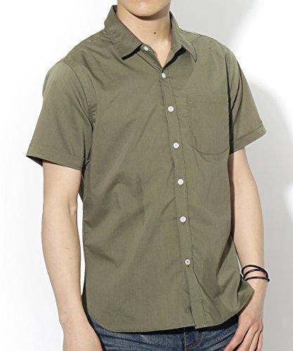 (リピード) REPIDO 半袖シャツ メンズ 半袖 シャツ ブロード カジュアル カラーシャツ ブロードシャツ 無地 クールビズ カーキ XLサイズ