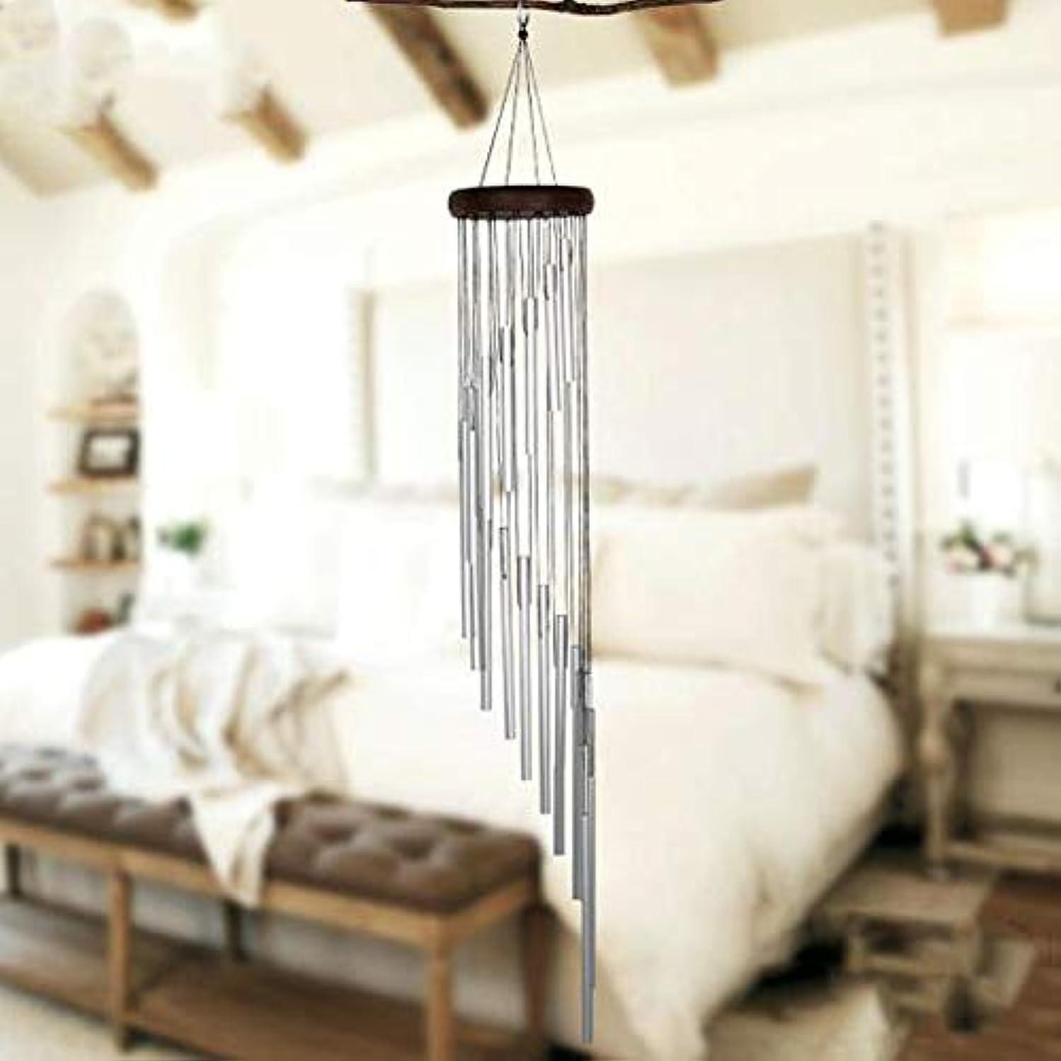 作詞家ステップペレットFengshangshanghang 風チャイム、メタルクリエイティブ18チューブ風の鐘、ゴールド、全身について90CM,家の装飾 (Color : Silver)