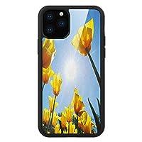 iPhone 11 Pro Max 用 強化ガラスケース クリア 薄型 耐衝撃 黒 カバーケース 黄と青 空とチューリップの花びらを元気に グリーンイエローブルー iPhone 11 Pro 2019用 iPhone11ケース用
