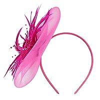 ハット レディース純羽色馬クラブ帽子大きな花ヘッドバンドパーティーガール女性のヘッドドレスかわいい夏の女の子の帽子 (ホットピンク)