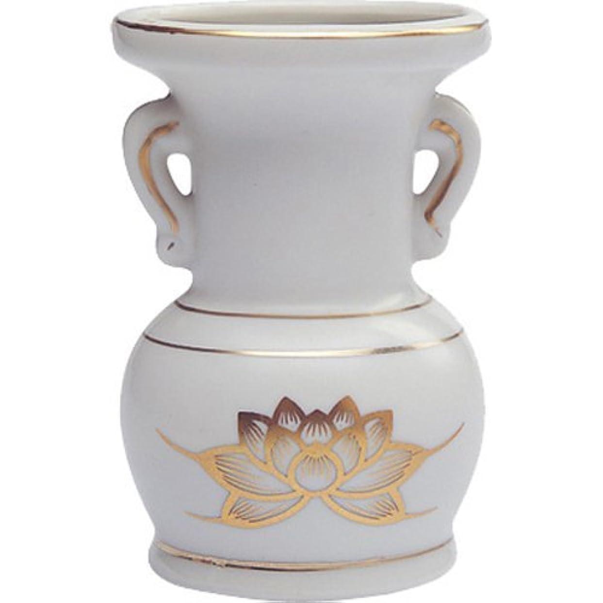 受動的国風景花立て 陶器(白磁)