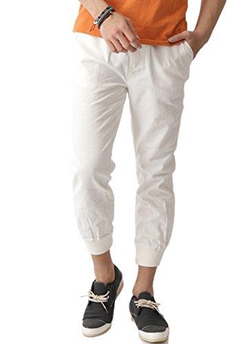 (アーケード) ARCADE メンズ 綿麻 麻 リネン ジョガーパンツ コットンリネン 裾リブ ボトムス L ホワイト