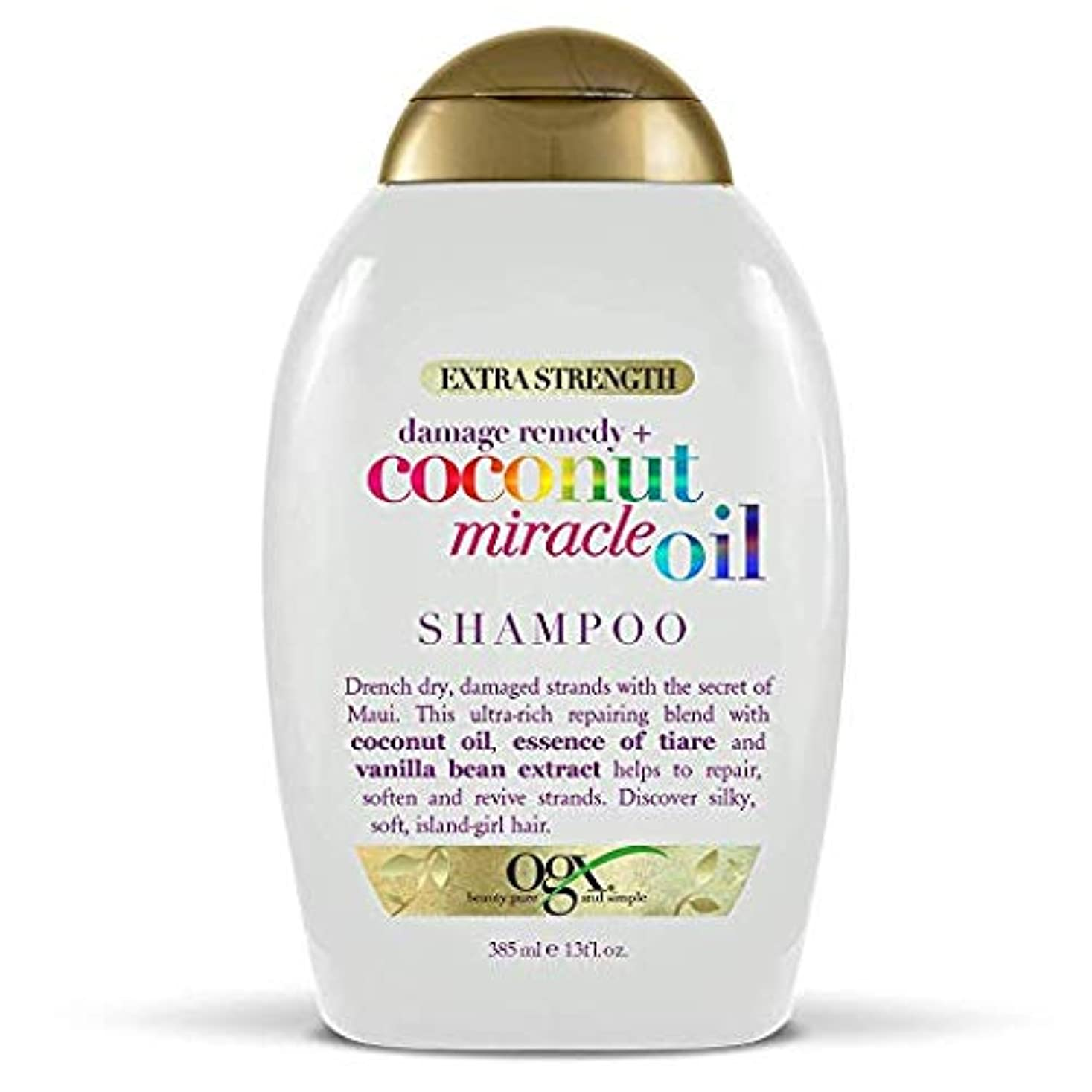 舗装社説放映Ogx Shampoo Coconut Miracle Oil Extra Strength 13oz OGX ココナッツミラクルオイル エクストラストレングス シャンプー 385ml [並行輸入品]