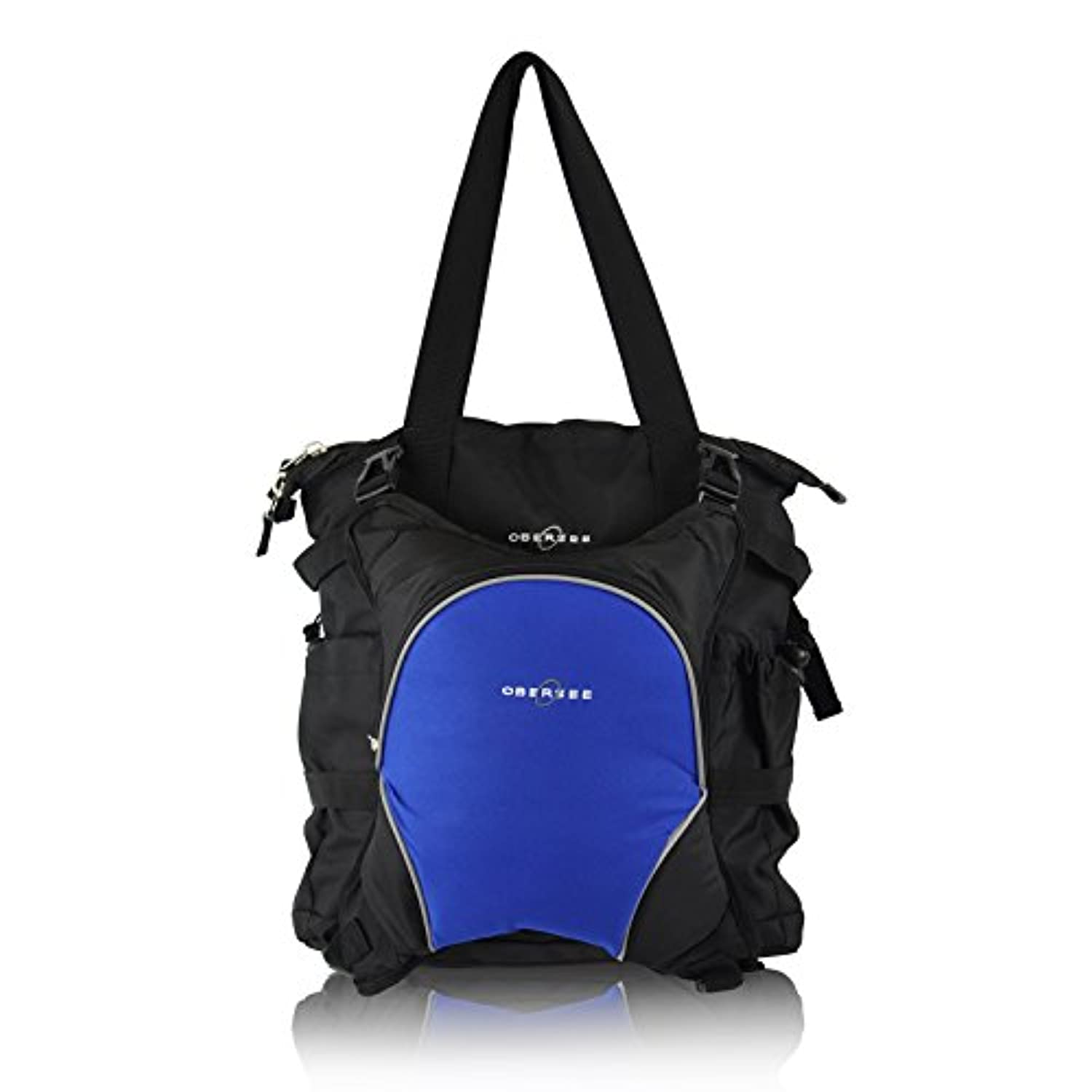 Obersee Innsbruck Diaper Bag Tote with Cooler, Black/Royal Blue by Obersee