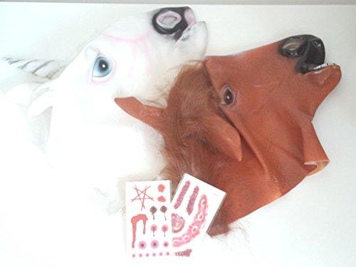 アニマル リアル マスク ユニコーン 馬 2種 本物 そっくり お面 仮面 コスプレ 仮装 変装 パーティー イベント 宴会に 更なる演出・・ ホラー タトゥーシール × 2枚 セット (ユニコーン + 馬)