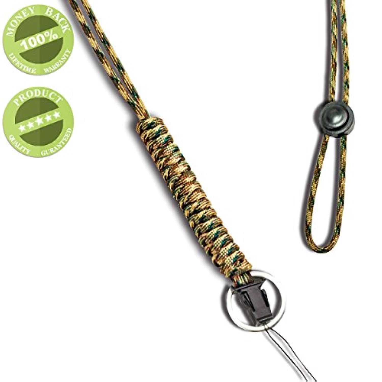 WALNEW ネックストラップ 救助用ロープ 丸紐 多機能ネックストラップ 超頑丈なパラコード ランヤード スマホやデジカメ、ネームプレートや鍵など多様に使用 オシャレな携帯式 吊り下げストラップ,迷彩